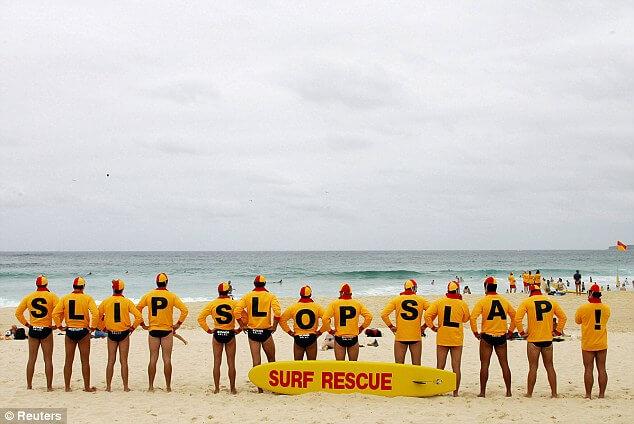"Volunteer lifesavers pose as a human billboard, forming the phrase ""Melanoma Kills"" (Photo : REUTERS/Will Burgess)"